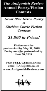 Antigonish Poetry and Fiction Contests 2018